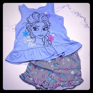 2T Frozen Elsa tank and shorts outfit
